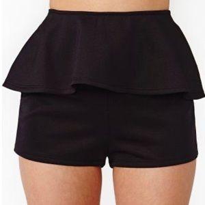 GoJane High Waisted Peplum Shorts Black S